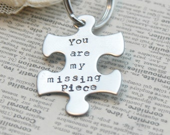 Puzzle Piece Keyring Hand Stamped - You Are My Missing Piece By Inspired Jewelry Designs