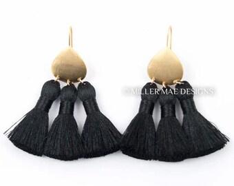 Black Boho Statement Tassel Earrings | Silky Tassel Earrings | Bohemian Tassel Earrings | Black Fringe Earrings | Thread Tassel Earrings