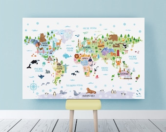 World map poster etsy nursery printable animal world map poster kids world map childrens map print world map for gumiabroncs Image collections