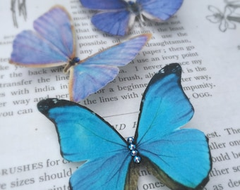 Hand Cut silk butterfly hair clips with Swarovski crystals - Trio of Blues