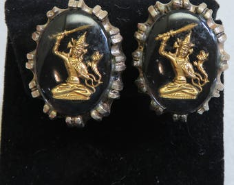 Vintage Siam Cameo Glass Button Clip Earrings