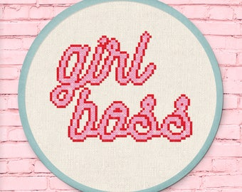 Girl Boss Cross Stitch Pattern, Modern Simple Cute Cool Sparkly Counted Cross Stitch PDF Pattern. Instant Download