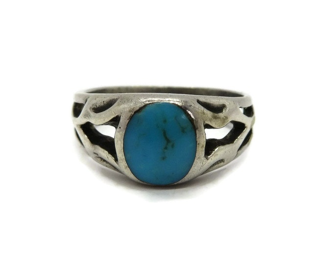 Vintage Turquoise Ring, Sterling Silver Ring, Cutout Band Ring, Retro Costume Jewelry Gift Idea for Her