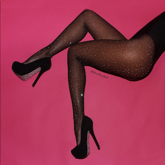 Crystallized Black Fishnet Tights By Dbleudazzled