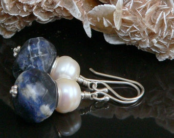 Faceted Sodalite Stones, Freshwater Pearls and Sterling Silver Findings.