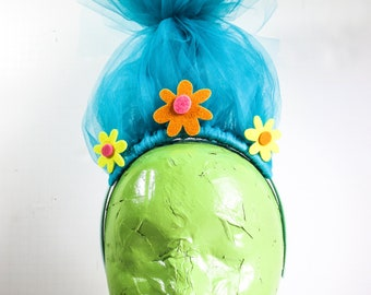 Troll headband / Blue Tulle Hair Flowers / Trolls Movie Party Favor Costume  Kids Play
