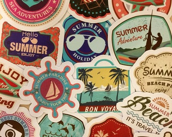 Summer Stickers - Travel Planner - Summertime - Surf Sticker - Surfing Sticker - Beach Sticker - Holiday - Resort - Stickers Set