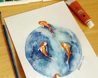 Original Koi Fish Watercolor Painting of Koi Fish Swimming Around Japanese Fish MADE TO ORDER