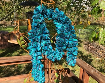 Hand-Knit Ruffle Scarf -- Variegated Blues