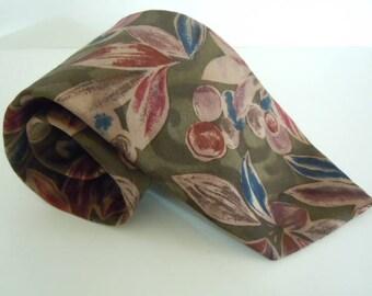 Vintage Necktie Terenzi XL Sandwashed Silk Olive Branch