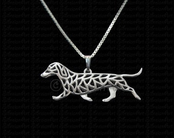 Dachshund movement - sterling silver pendant and necklace