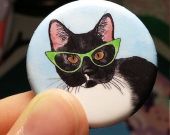 Cat pin, Cat button, Pinback button, Tuxedo cat pin, Tuxedo cat Button, Watercolor pin, cat buttons, cat pins, cute pin, cute button