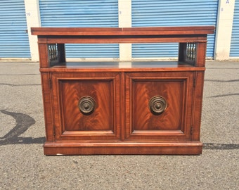 Vintage Buffet Credenza W/ Flip Top Serving Cart/ Bar/ Liquor Cabinet
