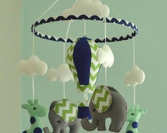 Mint Green Mobile - Baby mobile - Giraffe Elephant Mobile - Nursery Mobile - Balloon Mobile - Made To Order