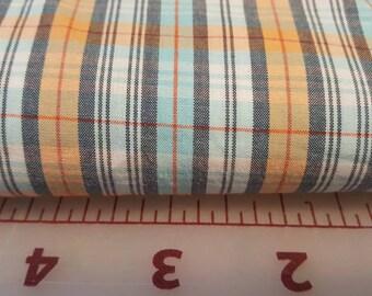 Aqua Tangerine Orange Grey Plaid   45W 100% Cotton