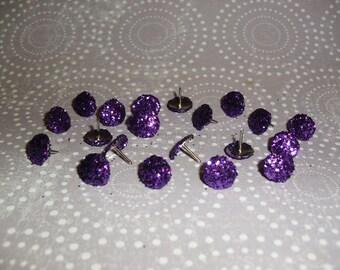 Glitter Thumb Tacks Purple Push Pins Set
