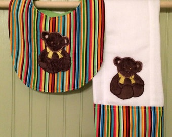 Baby Bibs, Baby Burp Cloth, Bib, Burp Cloths, Baby Accessories, Teddy Bear Bib and Burp Cloth