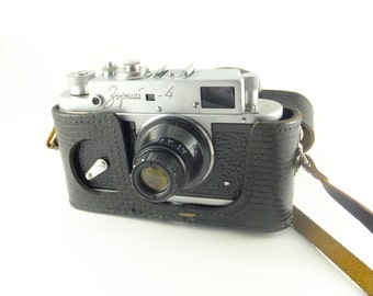 Zorki 4 - Vintage Russian Rangefinder Camera 35mm Film, Strange Lens, Made in USSR, NOT WORKING , Father's day Gift