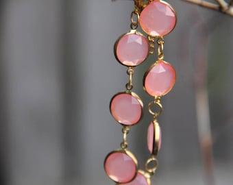 Pink and gold link bracelet