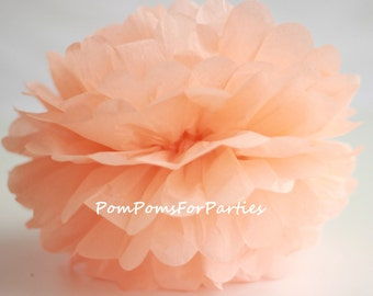 1 High Quality PEACH Tissue Pom Pom - Choose any of 50 colours - Hanging  Paper flower - Tissue paper balls - Tissue paper pom poms