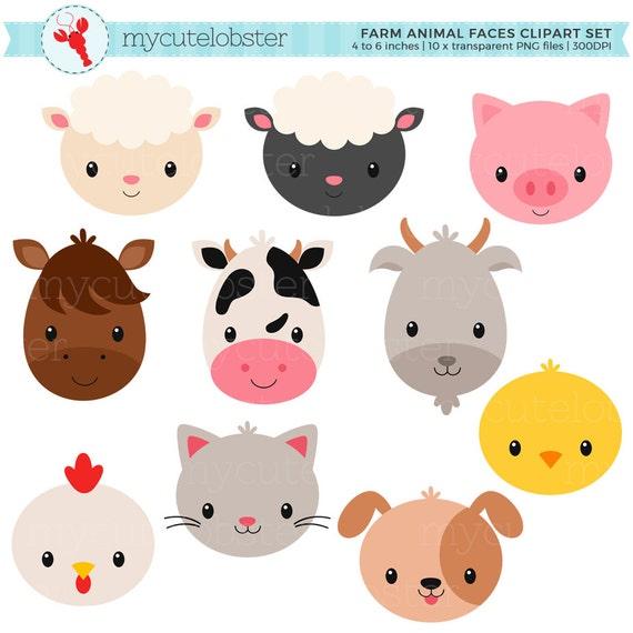 Set de granja animales caras im genes predise adas caras de - Cabezas de animales decoracion ...