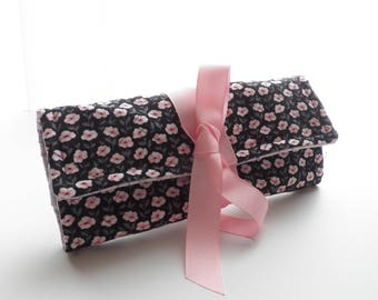 Jewelry Roll Travel Accessory Bridesmaid Gift Black Pink Gray Floral Monogram Personalization Available