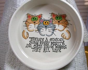 """Big Ceramic Cat Bowl """"Cats Know Where You Live"""" Handmade By Gracie"""