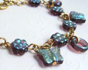 Butterfly Charm Bracelet Amethyst Czech Glass Butterfly and Flowers, Fashion Bracelet
