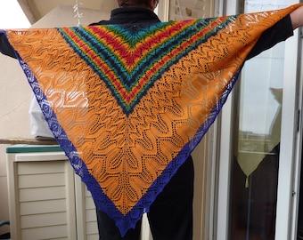 """Rainbow day, night"" lace shawl"