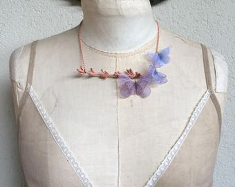 Handmade Lavender Lilac Silk Organza Fabric Butterflies Necklace on Electroformed Real Branch Tree in Copper - One of a Kind Like Nature