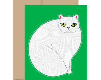 8 White Cat Cards, Boxed Set Cat Greetings, Cute Cat Thank You, Cat Thank You Cards, Cards With Cats, Cat Lovers Cards, Cat Gifts