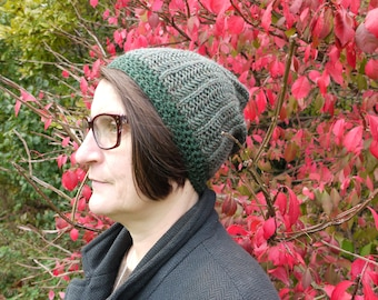 Green hand knit 100% wool hat