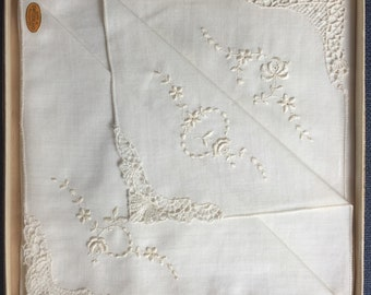 Set of two Hankies - Original Box, Vintage, Floral Embroidered Handkerchiefs - Never used