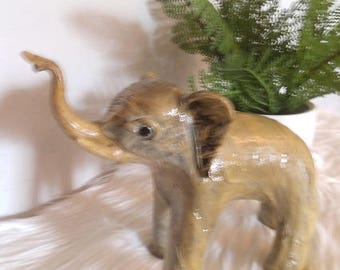 Vintage Gray Elephant ~ Trunk Up ~ Hand made Statue