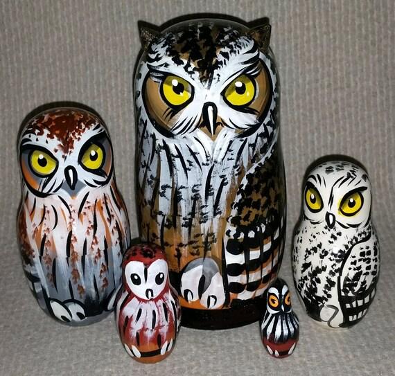 Owls on Five Russian Nesting Dolls. Wild Life. #12