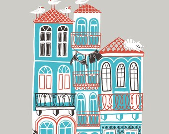 Art Print Seaside Town - pretty detailed giclee illustration of Porto, Portugal, with houses with tiles, seagulls, cat. Housewarming gift.