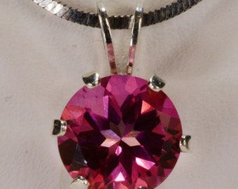 Mystic Pink Topaz Pendant~.925 Sterling Silver Setting~8mm Round Cut~Genuine Natural Mined
