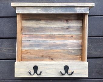 Handmade Wooden Shelf with Hooks