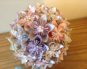 Origami kusudama paper flower bouquet large ball shaped bouquet