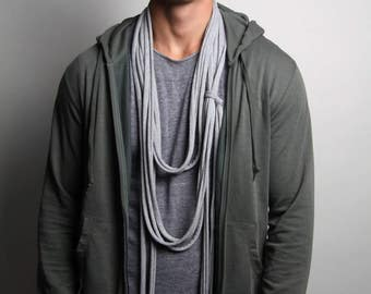 Heather Gray Scarf, Long Scarf, Gray Necklace, Skinny Scarf, Festival Clothing, Burning Man, Friendship Gift, Unique Gift Ideas