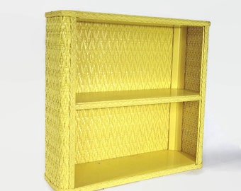 Vintage Yellow Wicker Wall Shelf, Bedroom Bathroom Storage, Boho Cottage Shelves