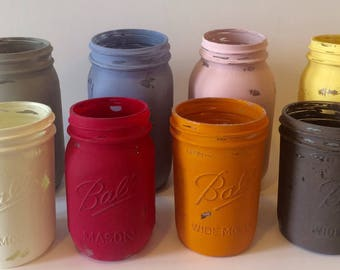 CUSTOM distressed mason jars, made to order jars, pint mason jars, quart mason jars, hand painted jars, mason jar centerpieces, matte jars