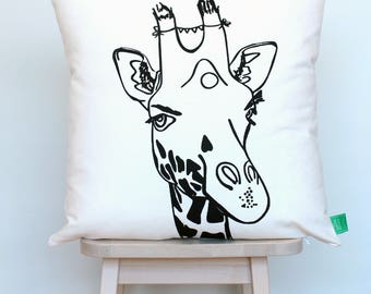 Cushion cover screen-printed black giraffe