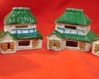 Set of 4 1940's Asian Occupied Japan Porcelain Hut Houses Set of 4 Vintage Fairy Garden Builders Delight Green Roof