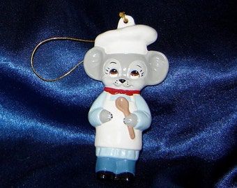 Brown Eyed Mouse Chef Ornament - Chef Ornament - Ceramic Ornaments - Mouse Ornaments - Mice Ornaments - Christmas Ornaments
