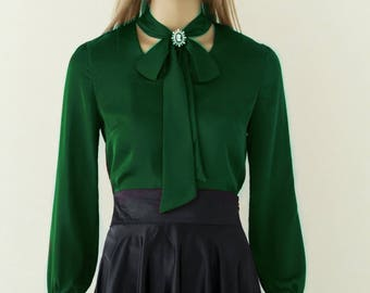 Blouse with bow, Silk blouse, Green blouse, Summer shirt, womens shirts, dressy blouses, womens blouses, shirts for women, silk shirt