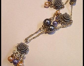 Grey, blue. apricot pearl chain