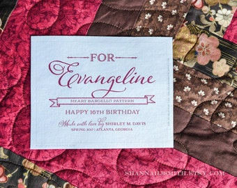 Personalized For Her Quilt Label • Sew On or Iron On Patch • Custom Message Quilt Label