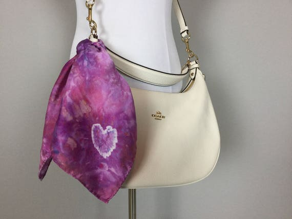 """Valentines Day 20"""" Valentine's Day Gifts Purse Scarf, 100% Silk Satin,  Tie Dye Purple Heart Purse Scarves #198"""