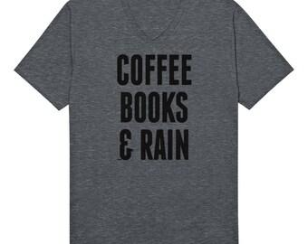 Coffee Books And Rain Funny Caffeine Addict Java Sugar Cocoa Brew Decaf Joe Sayings Novelty Gift Present Idea Men's V-Neck T-shirt SF_0101